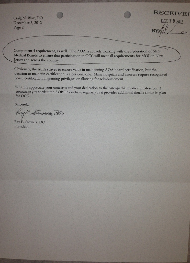 AOA President\'s Reply to letter | IP4PI – Independent Physicians for ...